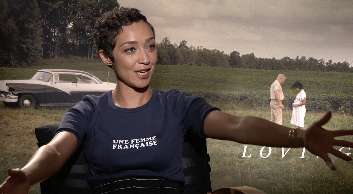 Ruth Negga (Mildred Loving) discusses her role with KOMO's Scott Carty in Beverly Hills.