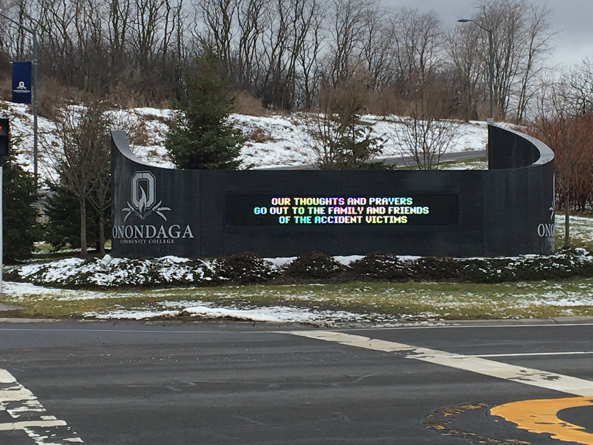 "On Friday the sign at the entrance of OCC said, ""Our thoughts and prayers go out to the family and friends of the accident victims."""