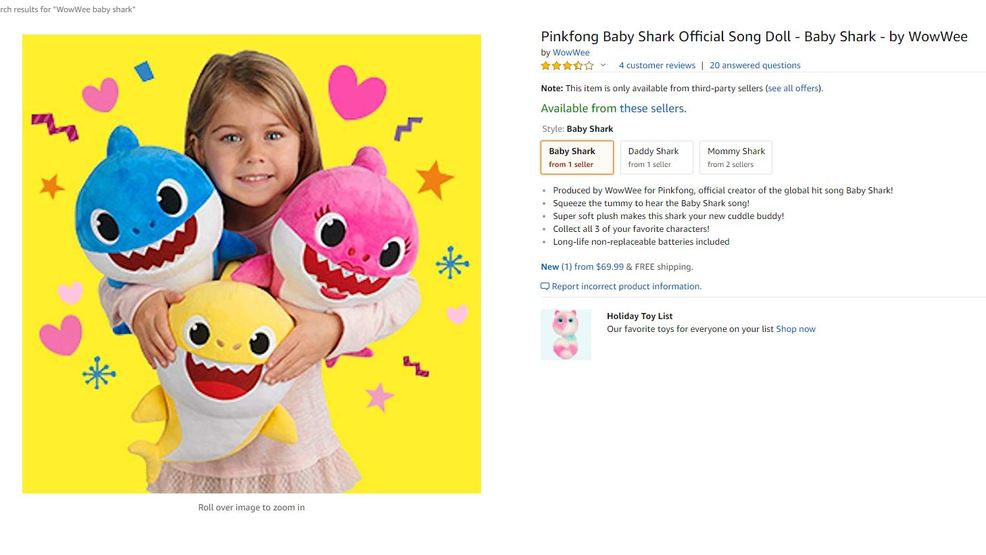 singing baby shark toys for sale on amazon