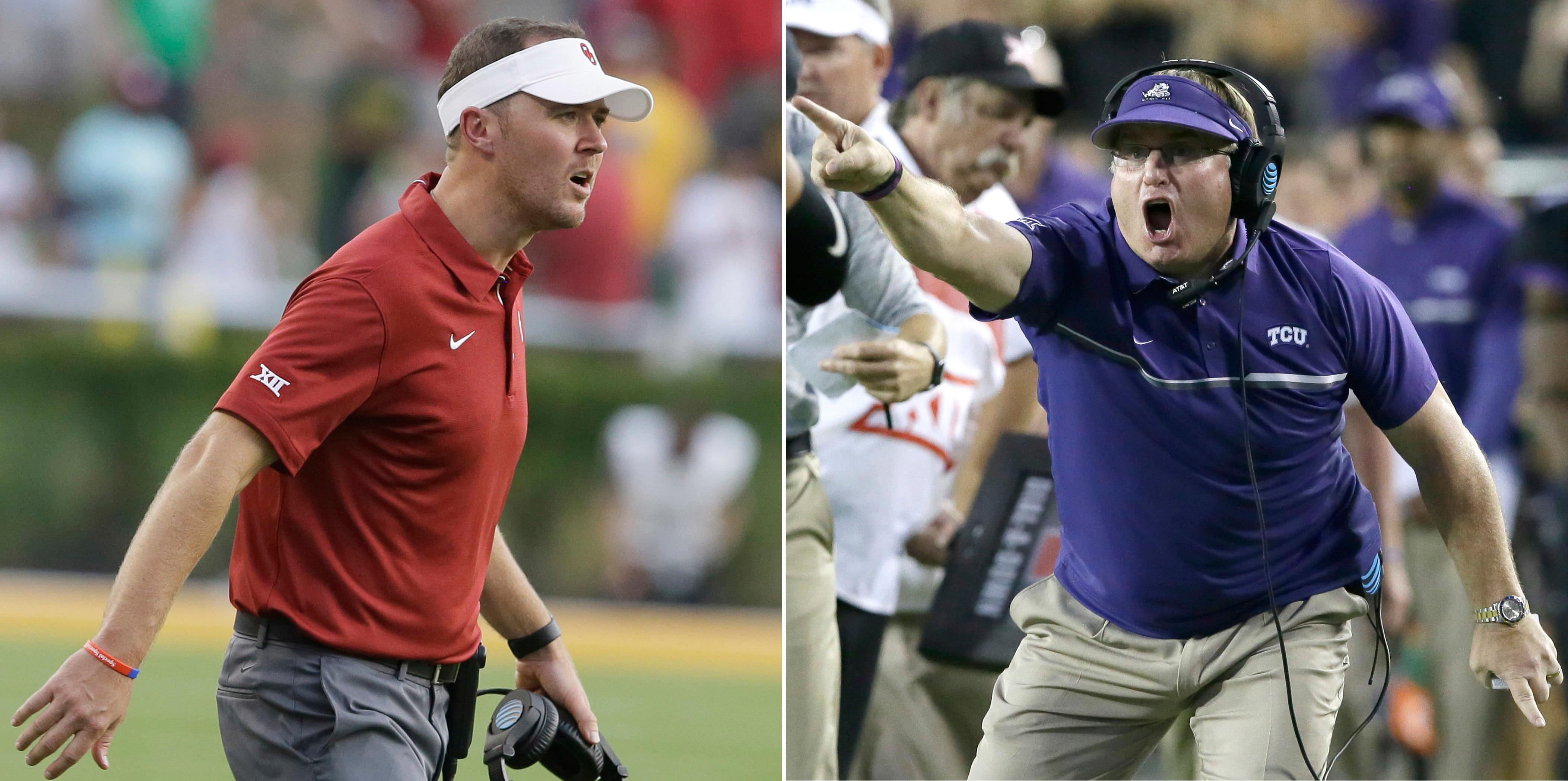 FILE - At left, in a Sept. 23, 2017, file photo, Oklahoma head coach Lincoln Riley looks on from the sidelines during the second half of an NCAA college football game against Baylor, in Waco, Texas. At right, in an Oct. 1, 2016, file photo, TCU head coach Gary Patterson yells during the second half of an NCAA college football game, in Fort Worth, Texas. TCU coach Gary Patterson doesn't believe it was an errant or accidental pass that hit safety Niko Small while going on the field for pregame warmups the last time the No. 10 Horned Frogs played No. 2 Oklahoma. Patterson also takes exception to how Sooners coach Lincoln Riley responded.  (AP Photo/FIle)