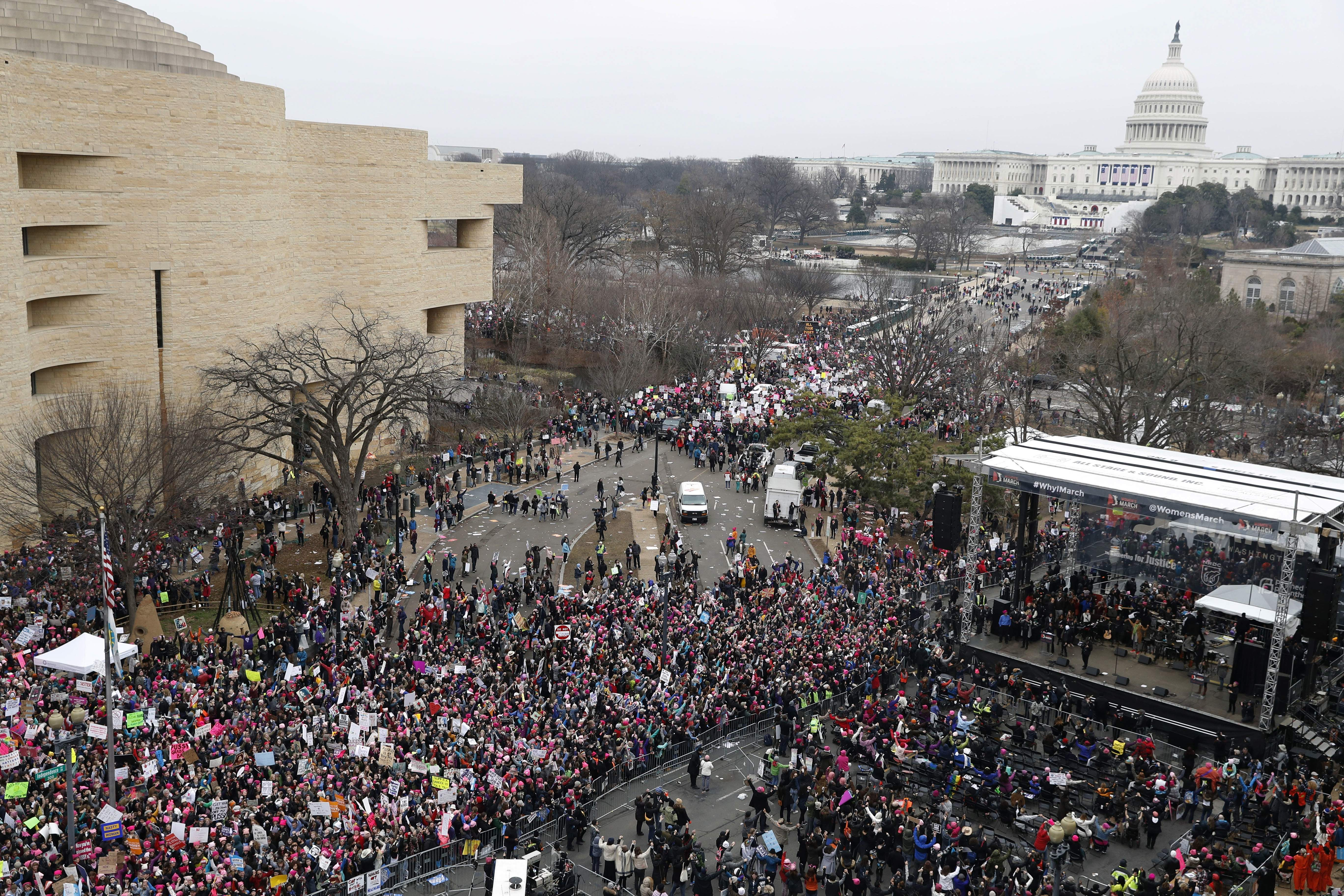 A crowd fills Independence Avenue looking towards the U.S. Capitol and the stage, lower right, during the Women's March on Washington, Saturday, Jan. 21, 2017 in Washington. THE ASSOCIATED PRESS