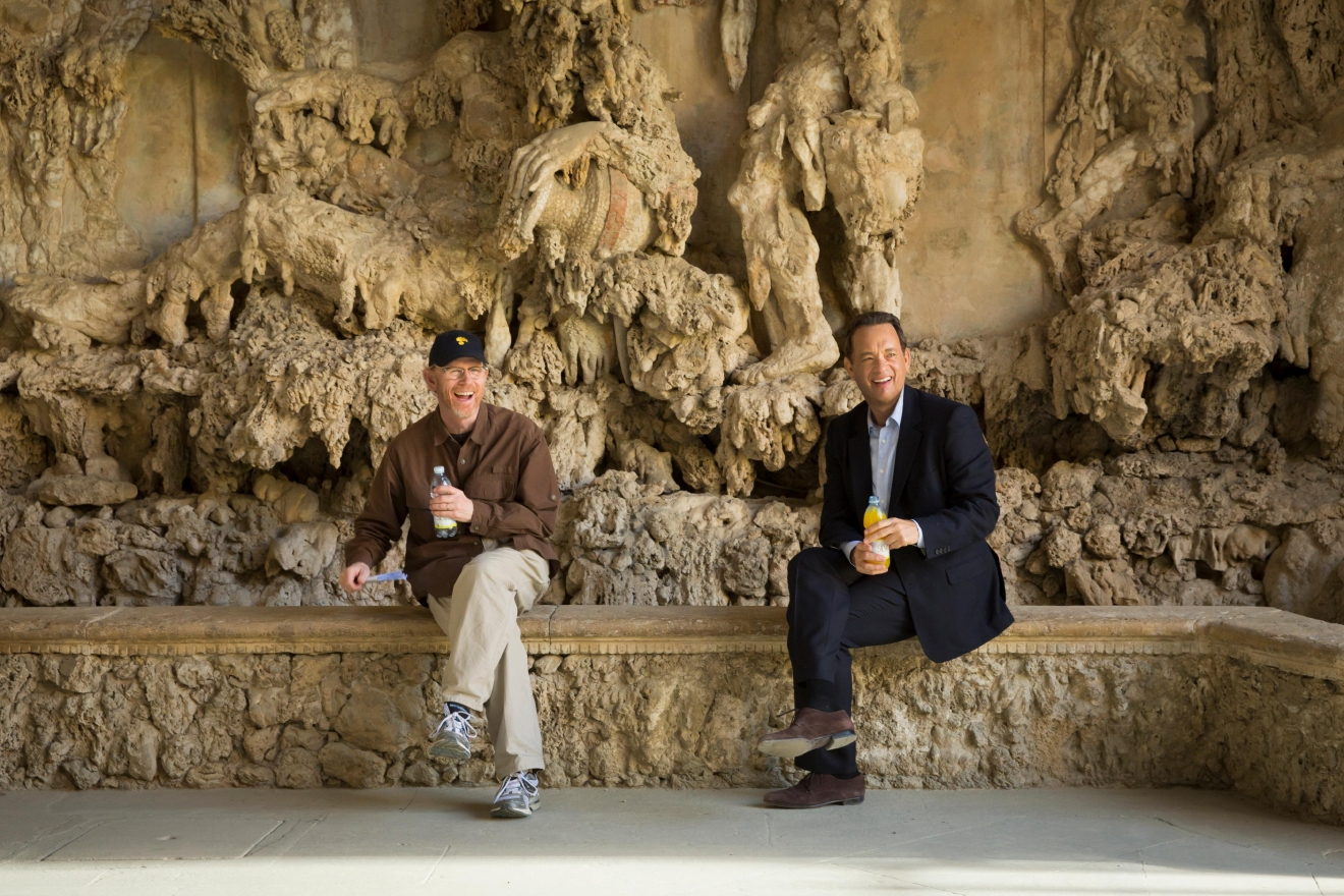 "Director/Producer Ron Howard and Tom Hanks relax between takes in the Grotto at Boboli Gardens in Columbia Pictures' ""Inferno."""