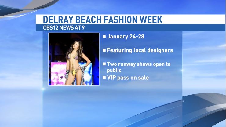 Laura Simon and model dressed in Glavidia by Glavidia Alexis fashion designs talk about  Delray Beach Fashion Week (WPEC)