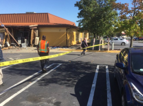 Officials: Huge hole blown through rear of Md. Olive Garden after 'some type of explosion.' (Audrey Barnes/Laurel PIO)