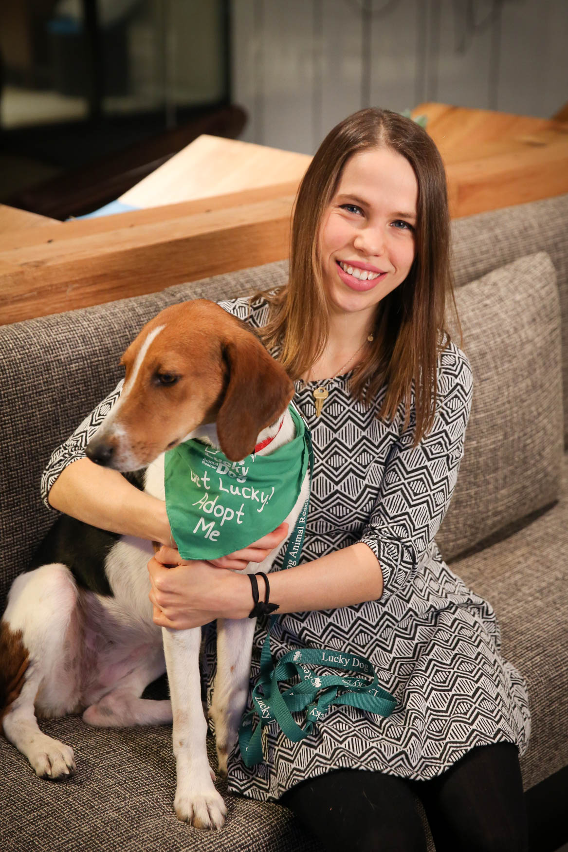 Meet Peggy and Judith, a 2(ish)-year-old Hound mix and a 26-year-old human respectively. Photo location: Moxy Washington, D.C. Downtown (Image: Amanda Andrade-Rhoades/ DC Refined)