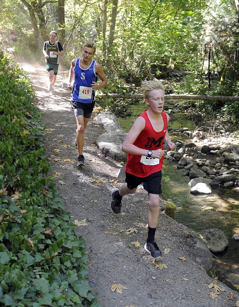 State of Jefferson Cross Country meet in Ashland's Lithia Park 9-30-17. Boys JV Race - Andy Atkinson