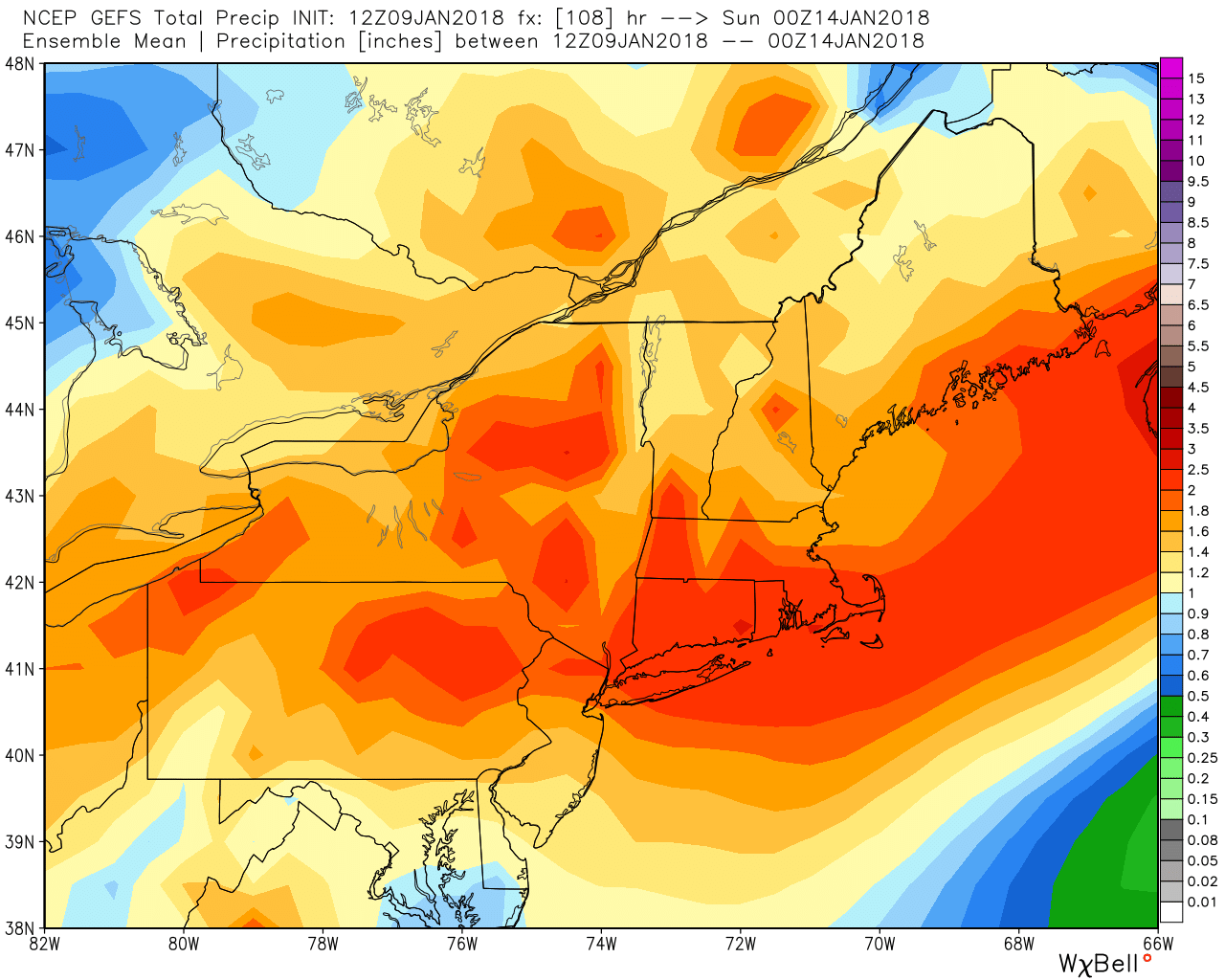 The American GFS Ensemble average rain forecast ending Saturday afternoon is over 2""