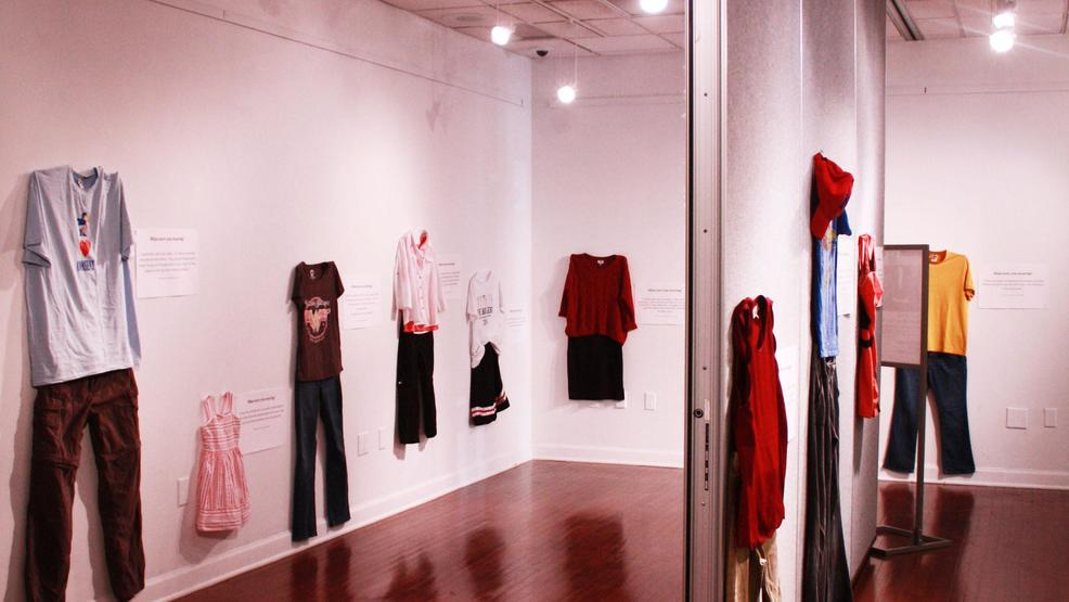 Creators of exhibit at University say clothing worn by victims doesn't 'cause' rape