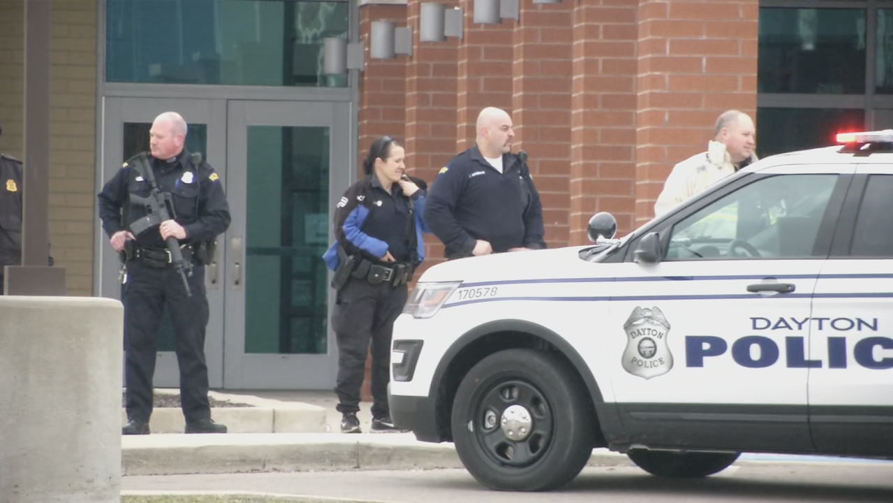 Heavy police presence at Belmont HS as officers respond to report of shooter inside school. The report was unfounded. (WKEF/WRGT)