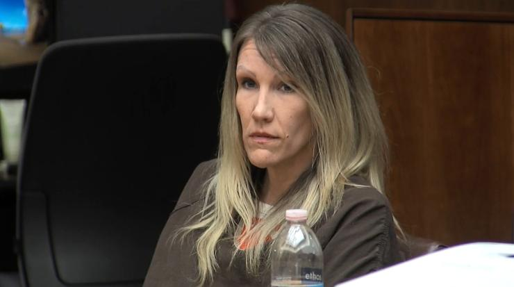 Sabrina Limon sits in court in Bakersfield, Calif., Wednesday, Feb. 21, 2018. She was convicted last fall in the murder of her husband while conspiring with her lover, Jonathan Hearn. A judge on Wednesday denied her motion for a new trial and sentenced her to 25 years to life in prison. (KBAK/KBFX photo)