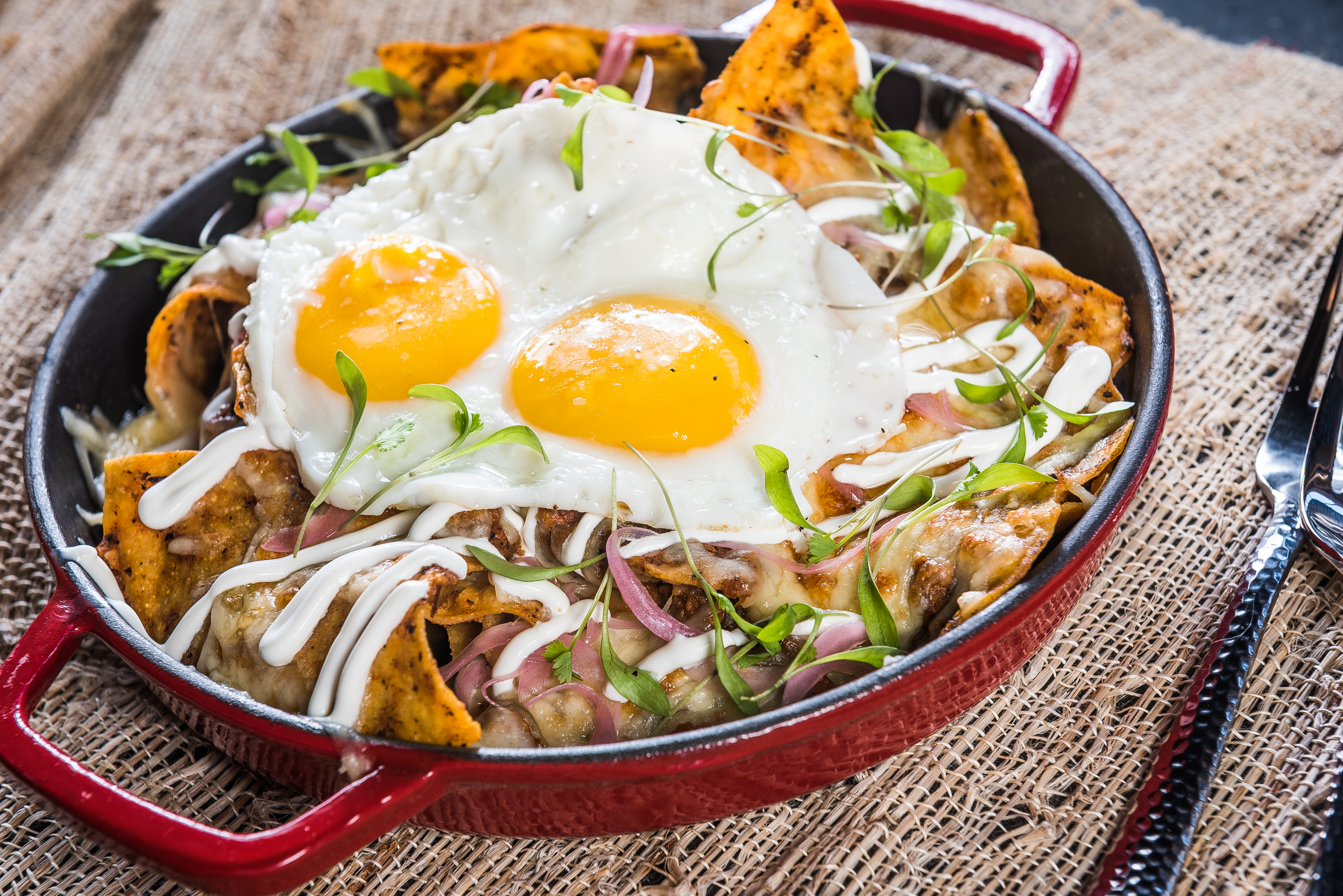 Chilaquiles: Chips, scrambled eggs, chorizo, crema, pickled onions, ranchera and Chihuahua cheese (Image: Rey Lopez)