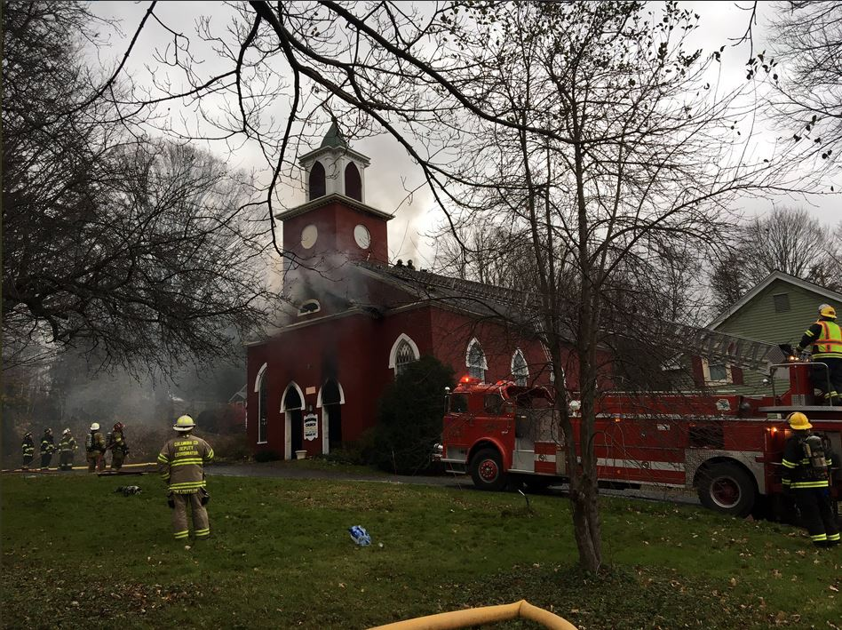 Firefighters are responding to a fire at the Canaan Congregational Church on County Route 5.