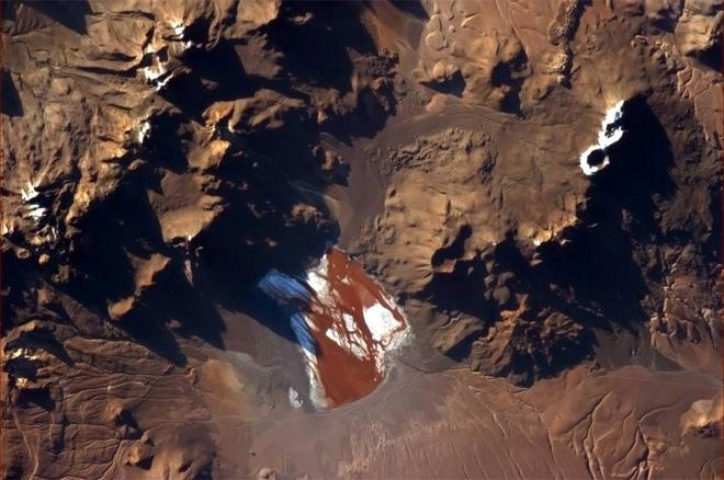 This South American lake looks like an uncomfortable place to go swimming. (Photo & Caption: Col. Chris Hadfield, NASA)